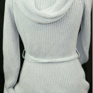 Gap Gray Sweater Front Tie Cable Knit Hooded